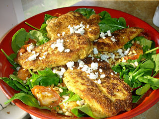 Lemon Chicken Cutlets over Roasted Tomato Salad