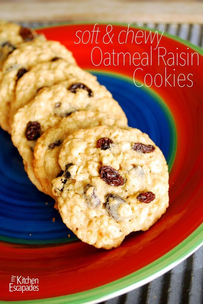 Soft & Chewy Raisin Oatmeal Cookies