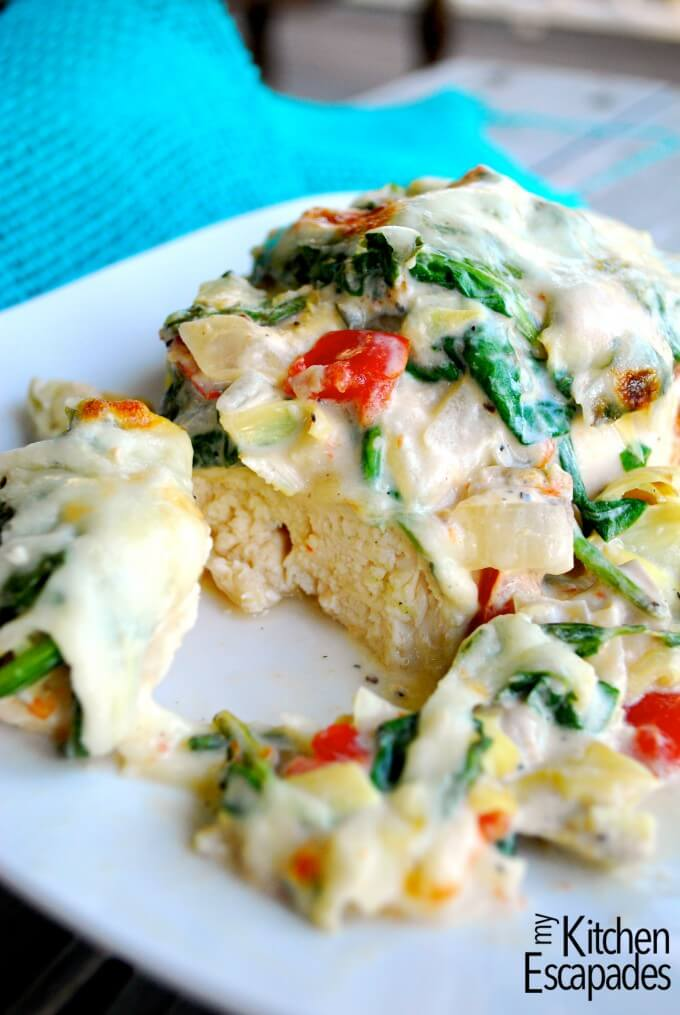 Italian Chicken Bake - is so flavorful and makes a fab pan sauce that you can serve over pasta or rice. There are a TON of great Italian goodies in the dish, along with the moist and tender chicken.