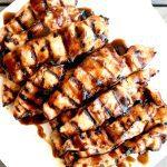 Plate of grilled chicken teriyaki strips