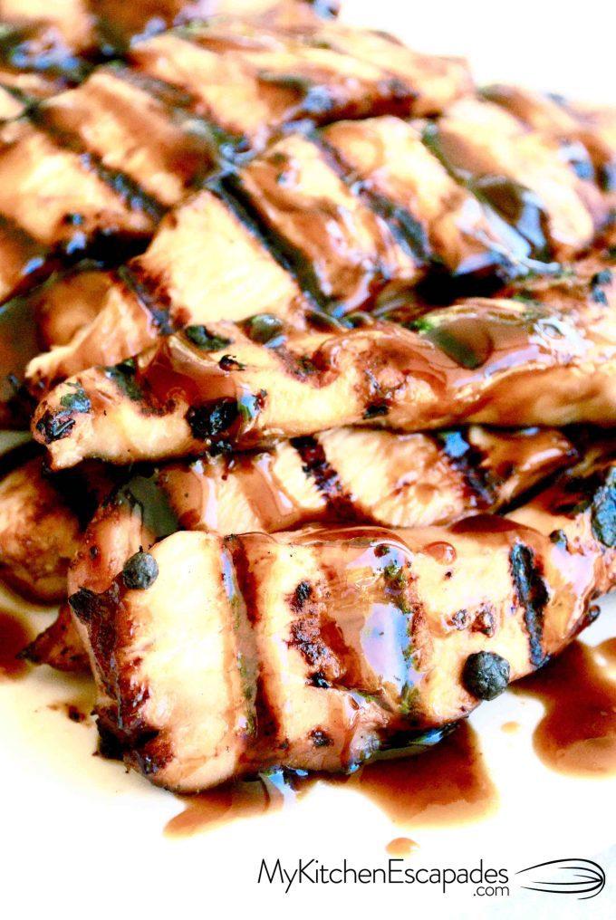 Plate of grilled teriyaki chicken strips