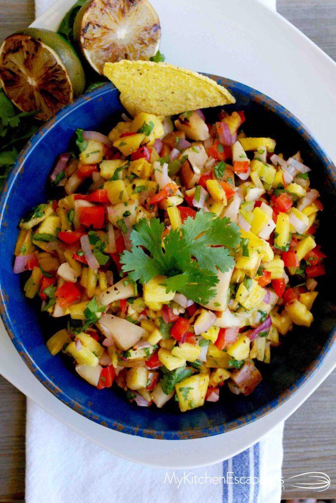 bowl of pineapple pear and jicama salsa
