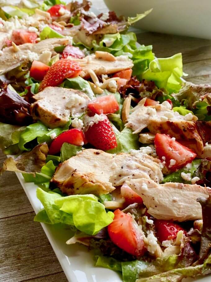 Chicken poppyseed salad with feta cheese