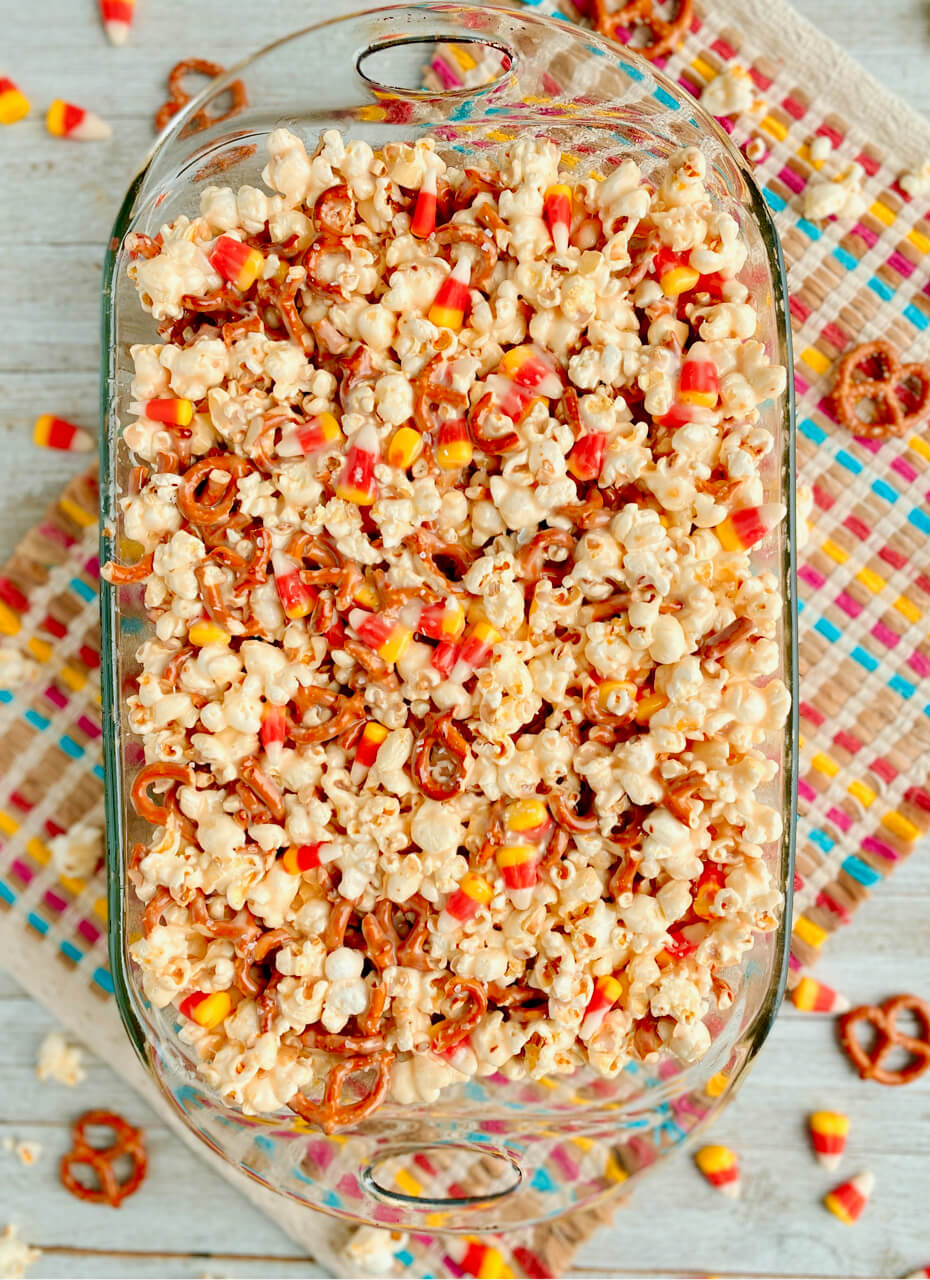 salted caramel popcorn bars with pretzels and candy corn