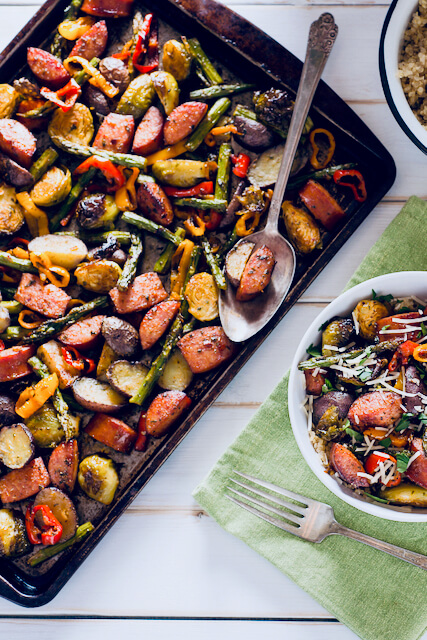 Healthy Smoked Sausage and Roasted Vegetables Sheet Pan Dinner
